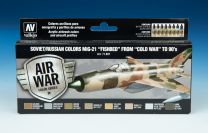 """Vallejo Model Air verf set Soviet/ Russian Colors Mig-21 """"Fishbed"""" From -Cold War- to 90's 71.607"""