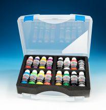 Createx Assortiment koffer 16 Pearl, Iridicent en Fluor kleuren
